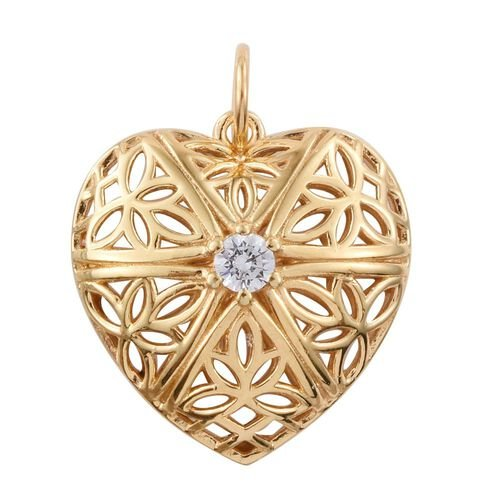J Francis - 14K Gold Overlay Sterling Silver (Rnd) Heart Pendant  Made with SWAROVSKI ZIRCONIA