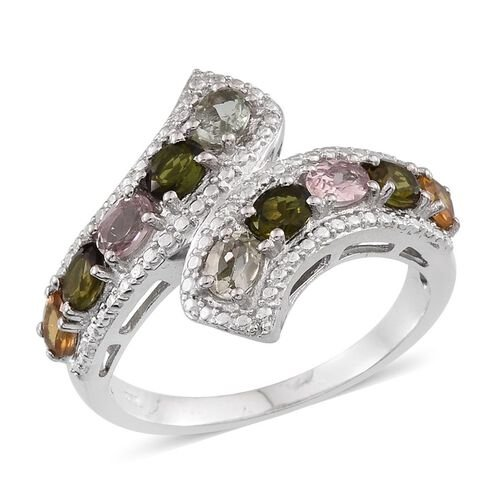 Rainbow Tourmaline (Ovl) Crossover Ring in Platinum Overlay Sterling Silver 1.750 Ct.
