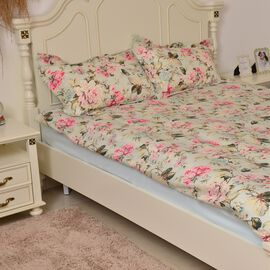 King Size Pink Floral Printed Reversible SUMMER Quilt (Size 260X240 Cm) with Two Pillow Shams (Size 70X50 Cm)