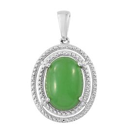 Green Jade (Ovl) Solitaire Pendant in Platinum Overlay Sterling Silver 6.000 Ct.