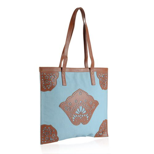 Laser Cut Pattern Chocolate and Sky Blue Colour Cotton Tote Bag (Size 41x36 Cm)