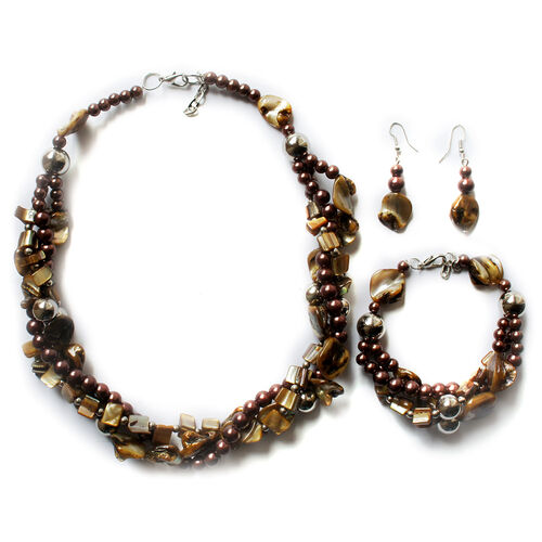 Royal Bali Collection Brown Shell, Glass Pearl Necklace (Size 20), Hook Earrings and Bracelet (Size 8.5) in Silver Tone