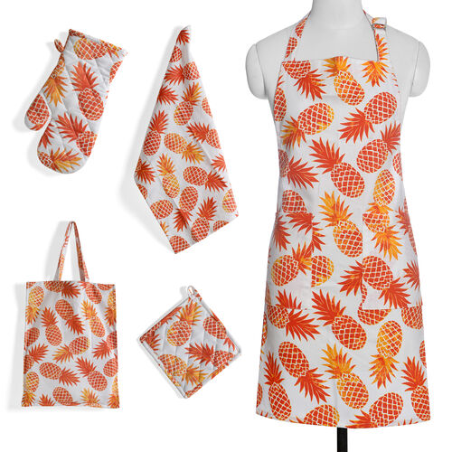 Kitchen Textiles White and Orange Colour Pineapple Printed Apron (Size 75x65 Cm), Glove (32x18 Cm), Pot Holder (Size 20x20 Cm), Kitchen Towel (Size 65x40 Cm) and Bag (45x35 Cm)