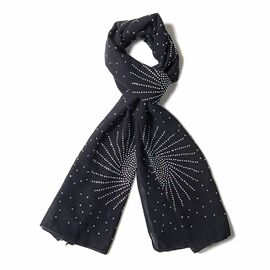 Black Colour Fireworks Pattern Scarf with Crystal Embellishment (Size 157x50 Cm)