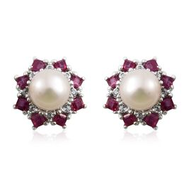 Pearl African Ruby and White Topaz Silver Halo Stud Earrings with Push Back in Platinum Overlay