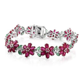 Limited Edition  - AAA African Ruby (Ovl), AAA Kagem Zambian Emerald and Natural Cambodian Zircon Floral Bracelet (Size 7.5) in Platinum Overlay Sterling Silver 28.250 Ct.