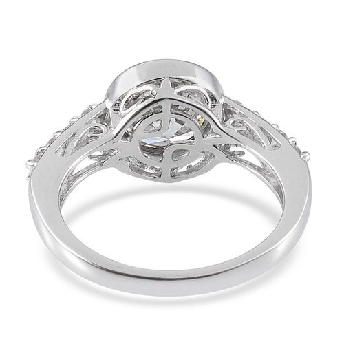 J Francis - Platinum Overlay Sterling Silver (Rnd) Ring Made With SWAROVSKI ZIRCONIA 2.280 Ct.