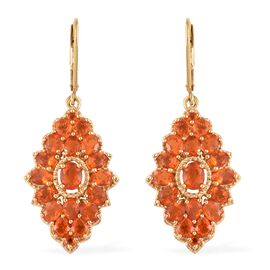 WEBEX- Jalisco Fire Opal (Ovl) Floral Cluster Earrings (with Lever Back) in 14K Gold Overlay Sterling Silver 4.250 Ct, Silver wt. 6.40 Gms.