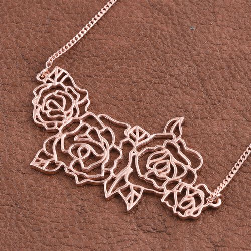Kimberley Bloom Collection Rose Gold Overlay Sterling Silver Necklace (Size 18), Silver wt 11.97 Gms.