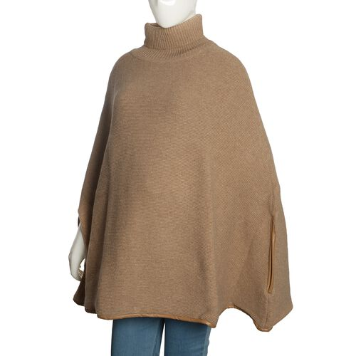 Designer Inspired - 100% Wool Beige Colour Knitted Cape Jacket (Free Size)