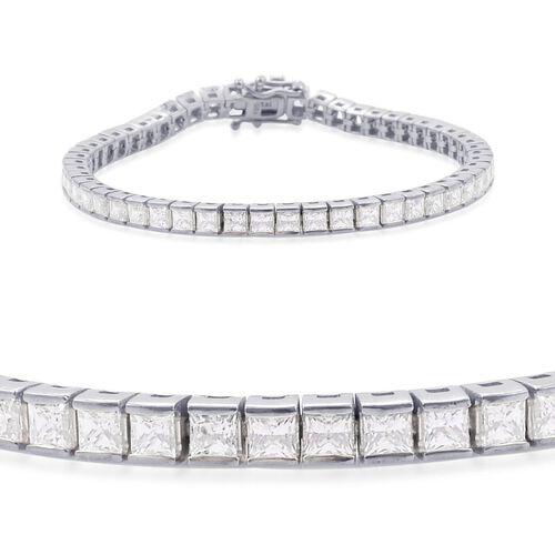 J Francis - Platinum Overlay Sterling Silver (Sqr) Bracelet (Size 7.5) Made with SWAROVSKI ZIRCONIA