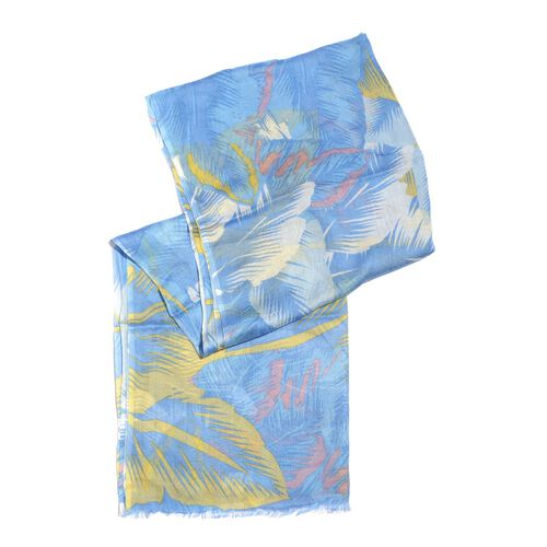 100% Modal Blue, Yellow and Multi Colour Hand Screen Leaves Printed Scarf (Size 180x70 Cm)