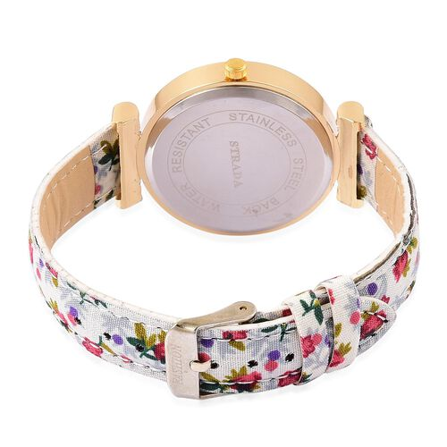 STRADA Japanese Movement White Austrian Crystal Studded Watch in Gold Tone with Red and White Colour Floral Strap