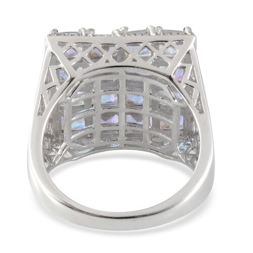 Mercury Mystic Topaz (Sqr) Ring in Platinum Overlay Sterling Silver 6.000 Ct.