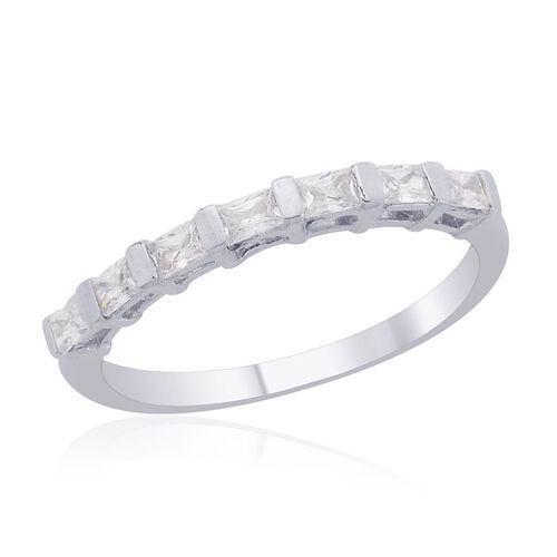 J Francis - Platinum Overlay Sterling Silver 7 Stone Ring Made with SWAROVSKI ZIRCONIA 0.560 Ct.