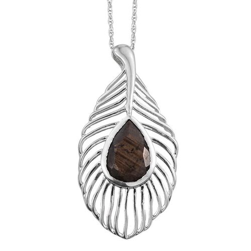 Natural Zawadi Golden Sheen Sapphire (Pear) Feather Pendant with Chain in Platinum Overlay Sterling Silver 6.000 Ct.