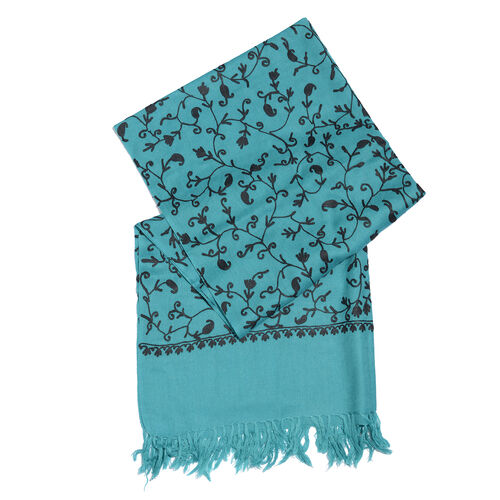 100% Merino Wool Ocean Blue and Black Colour Paisley and Leaves Embroidered Scarf with Tassels (Size 180X68 Cm)