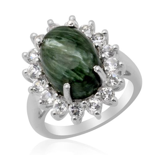 Siberian Seraphinite (Ovl 5.00 Ct) White Topaz Ring in Platinum Overlay Sterling Silver  6.750 Ct.
