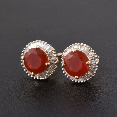 ILIANA 18K Y Gold AAAA Jalisco Fire Opal (Rnd), Diamond Stud Earrings (with Screw Back) 2.250 Ct.