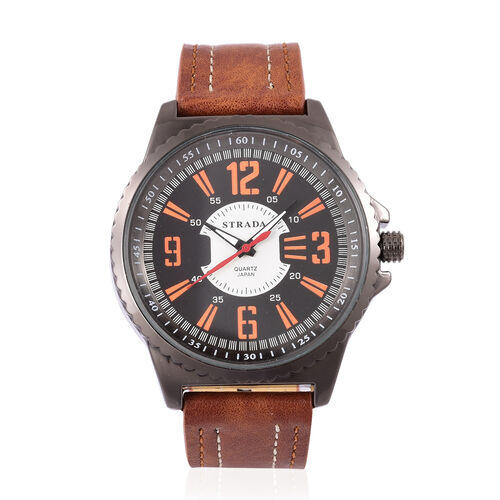 STRADA Japanese Movement Black Dial Water Resistant Watch in Black Tone with Stainless Steel Back and Brown Colour Strap