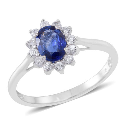 9K White Gold AA Ceylon Blue Sapphire (Ovl 0.95 Ct), Natural Cambodian Zircon Ring 1.500 Ct.