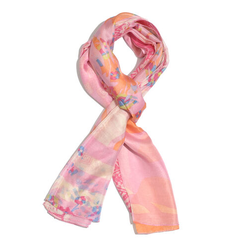 100% Mulberry Silk Light Pink and Multi Colour Abstract Pattern Printed Pareo (Size 180x100 Cm)