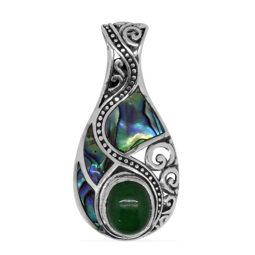 (Option 1) Royal bali Collection Abalone Shell and Green Jade Drop Pendant in Sterling Silver 7.413 Ct.