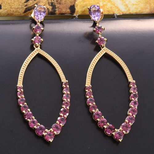 GP Rhodolite Garnet (Rnd), Amethyst and Kanchanaburi Blue Sapphire Earrings (with Push Back) in 14K Gold Overlay Sterling Silver 7.390 Ct.
