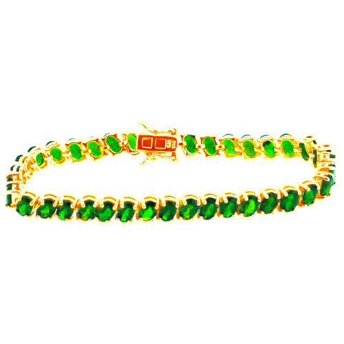 Russian Diopside (Ovl) Bracelet in 14K Gold Overlay Sterling Silver (Size 7) 17.750 Ct.