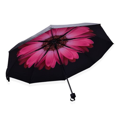 Black and Pink Colour Daisy Floral Pattern Three Fold Umbrella with Ultaviolet protective Coating (Size 24.50 Cm)