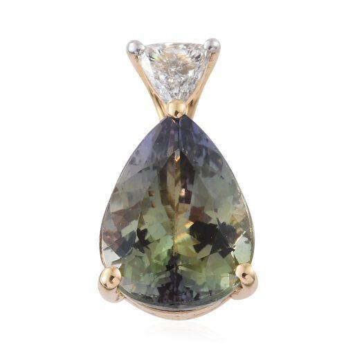 ILIANA 18K Yellow Gold 4.03 Ct Very Rare AAA Green Tanzanite Pear Pendant with Diamond SI G-H