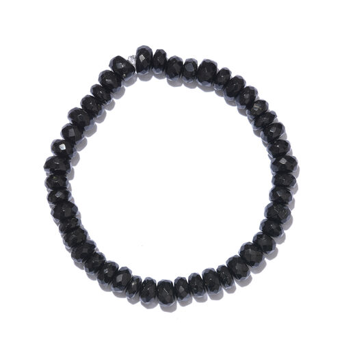 Very Rare AAA Black Tourmaline (Rnd) Beads Stretchable Bracelet (Size 7.5) 100.000 Ct.