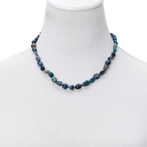 Chrysocolla Necklace (Size 18 with 2 inch Extender) in Rhodium Plated Sterling Silver 130.000 Ct.