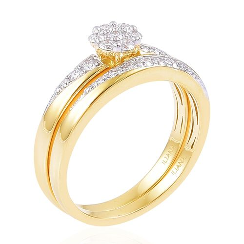 ILIANA 18K Yellow Gold 0.50 Carat Diamond Bridal 2 Ring Set IGI Certified SI G-H.