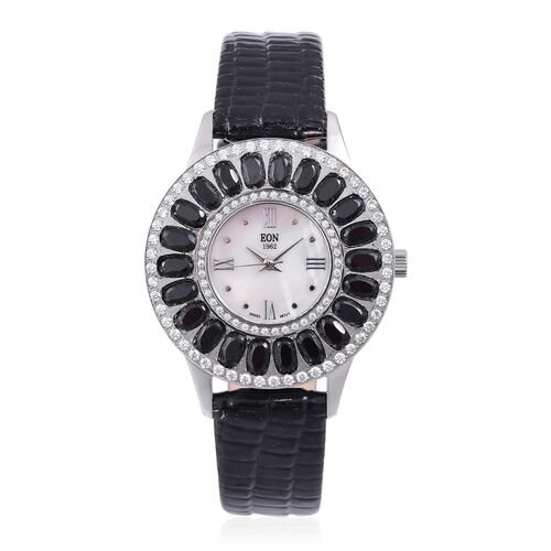 EON 1962 Swiss Movement MOP Dial with Boi Ploi Spinel (7.52 Ct) Watch with Black Leather Strap (Size 6.5 to 8.25)