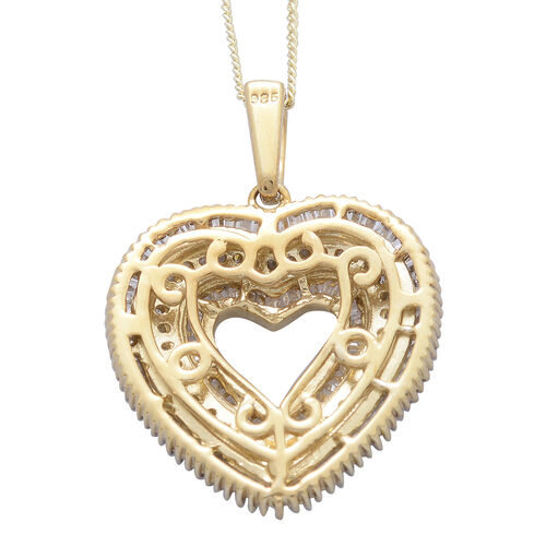 Diamond (Rnd and Bgt) Heart Pendant with Chain in Platinum and 14K Gold Overlay Sterling Silver 1.000 Ct.