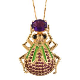 GP Amethyst (Ovl), Boi Ploi Black Spinel, Hebei Peridot and Multi Gemstone Green Enameled Beetle Holding Treasure Pendant with Chain in Yellow Gold Overlay Sterling Silver 3.420 Ct. Silver wt 8.70 Gms