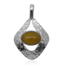 Royal Bali Collection Honey Jade (Ovl) Solitaire Pendant in Sterling Silver 6.800 Ct.
