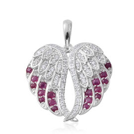 2.60 Ct African Ruby and Natural Cambodian Zircon Angel Wings Pendant in Platinum Plated Silver