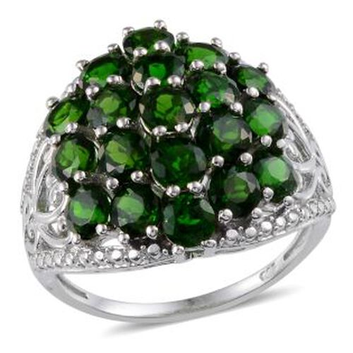 Russian Diopside (Rnd) Cluster Ring in Platinum Overlay Sterling Silver 5.000 Ct.