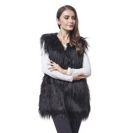 Close Out Designer Inspired Super Soft Black Colour Faux Fur Gilet (Size 65X50 Cm)
