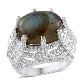 Labradorite (Ovl 12.00 Ct), Diamond Ring in Platinum Overlay Sterling Silver 12.010 Ct.