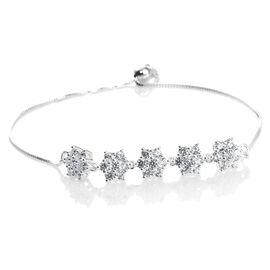 J Francis - Sterling Silver (Rnd) Adjustable Floral Bracelet (Size 6.5 to 8.5) Made with SWAROVSKI ZIRCONIA