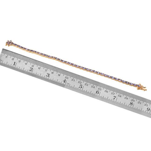 Tanzanite (Ovl), Diamond Tennis Bracelet (Size 8) in 14K Gold Overlay Sterling Silver 9.005 Ct.