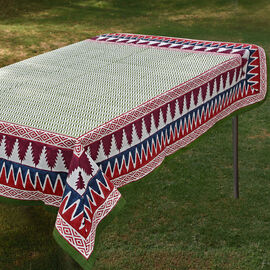 100% Cotton Green, Red and Multi Colour Hand Block Printed Table Cover (Size 235x150 Cm)