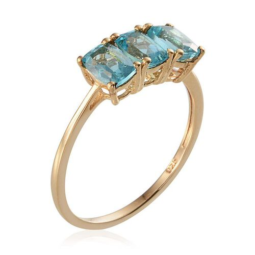 AA Paraibe Apatite (Cush) Trilogy Ring in 14K Gold Overlay Sterling Silver 1.500 Ct.