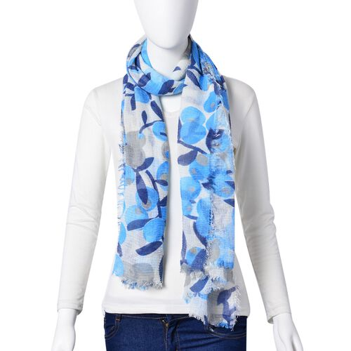 Loquat Tree Pattern Blue and Grey Colour Scarf (Size 180x90 Cm)