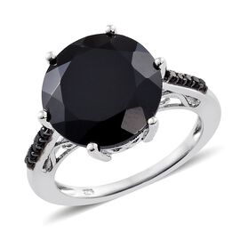Boi Ploi Black Spinel (Rnd) Ring in Platinum Overlay Sterling Silver 11.000 Ct.