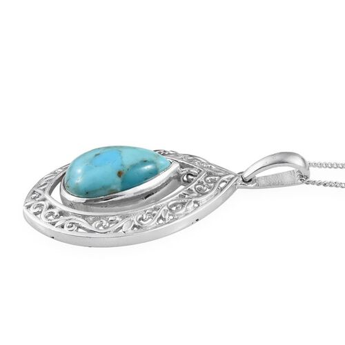 Arizona Matrix Turquoise (Pear) Solitaire Pendant With Chain in Platinum Overlay Sterling Silver 3.750 Ct.