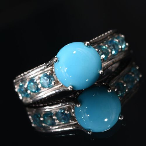 Arizona Sleeping Beauty Turquoise (Rnd 2.10 Ct), Signity Pariaba Topaz Ring in Platinum Overlay Sterling Silver 3.000 Ct.